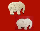 Elephant Family - Childrens Wood Puzzle Game- New Toy - Hand Made - Child Safe
