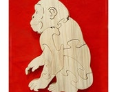 Chimp - Chimpanzee - Monkey - Ape - Childrens Wood Puzzle Game - New Toy - Hand Made- Child Safe