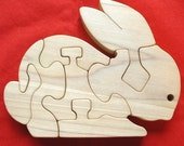 Shy Bunny - Childrens Wood Puzzle Game - New Toy - Hand-Made - Child-Safe