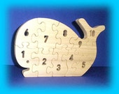 Whale Count-To-Ten puzzle -  A Fun Wood Puzzle Game - Educational - Hand Made - Child Safe
