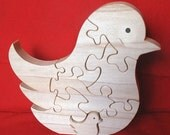 Song Bird with Baby - Childrens Wood Puzzle Game - New Toy - Hand-Made - Child-Safe