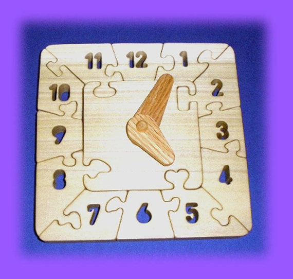 Clock - Learn to tell time - A Fun Wood Puzzle Game - New Toy - Hand Made - Child Safe
