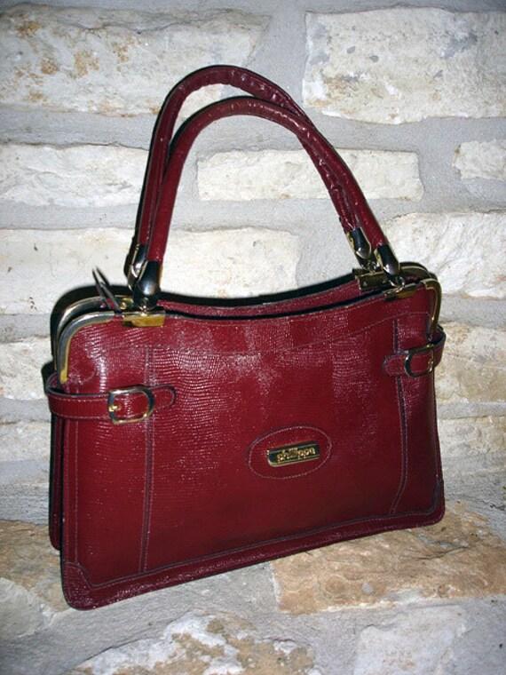 1970s vintage Phillippe oxblood red leather lizard handbag