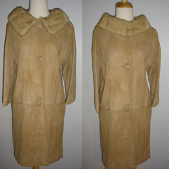 1960s vintage mod champagne mink and suede leather  coat - xs  or small