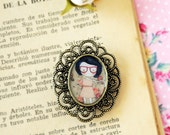 Nerd girl - cameo brooch