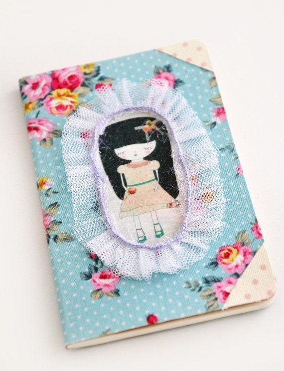 SALE - Cute Sad girl moleskine cahier