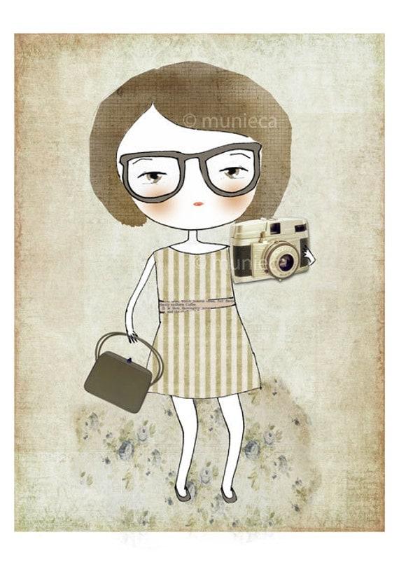 Nerd with her camera - 5x7 print