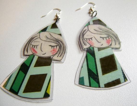 Green Paper Doll earrings
