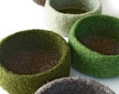 Individual Felted Wool Bowl - Shades of Green