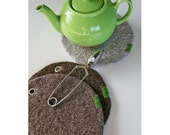 Set\/3 Trivets - Felted Wool - Shades of Brown