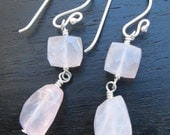 Soft Pastel Pink Rose Quartz Stone Earrings in Sterling Silver - Christian Earrings - Almond Blossoms Collection