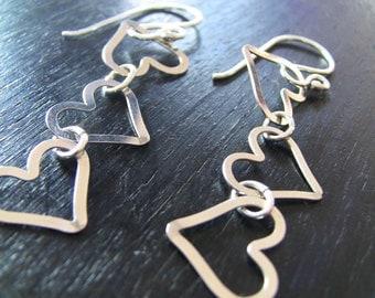 Long Sterling Silver Heart Christian Dangle Earrings - Abundance of Heart Collection