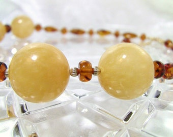 Polka Dots, Amber, Golden Calcite Stone Christian Necklace - Gold Fill Chain, Vermeil Cross - Oil Collection