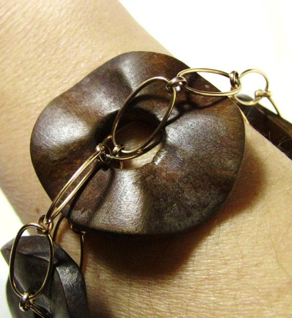 Brown Wood and Gold Chain Bracelet - Christian Bracelet - Sparkling Crystal Cross - The KING'S CROSS