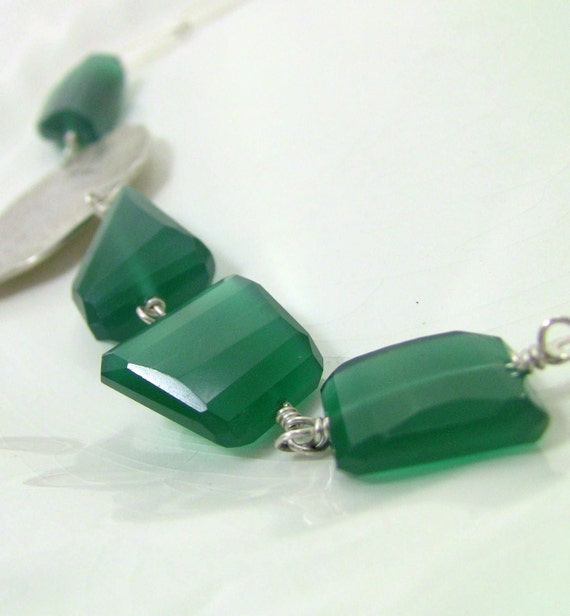 Sparkling Emerald Green Onyx Necklace, Sterling Oblong Link Chain, Fine Silver Leaf  - One-of-a-Kind Christian Jewelry - HOSANNA Collection