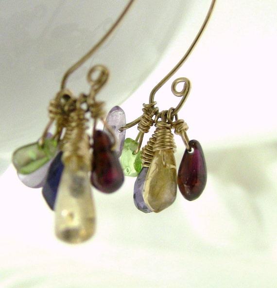 Gold Gemstone Cluster Dangle Christian Earrings, Red Garnet, Yellow Citrine, Green Peridot, Blue Iolite, Amethyst - FAITHFULNESS Collection