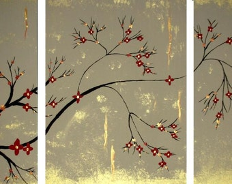 Original Abstract Modern Landscape Gold Red Tree Branch Cherry Blossom Canvas Art Triptych Home Decor by Heather Lange