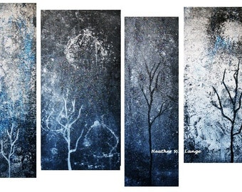Abstract Modern Space Canvas Painting Art Black White Gray Iridescent Accents Four Piece Painting Made To Order