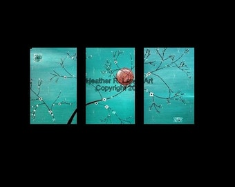 Triptych Landscape Original Canvas Jade Color Art Textured Japanese Inspired Painting Turquoise Green Blue Modern Home Decor Heather Lange