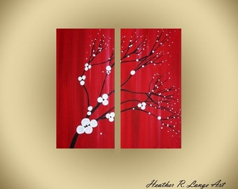 Japanese Inspired Red Paintings White Flowers Nature Black Trees Modern Contemporary Landscape Artwork Made To Order