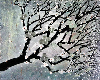 Large ORIGINAL Landscape Painting on Canvas Modern Japanese Inspired Abstract Trees Nature Painting Textured Fine Art by Heather R Lange