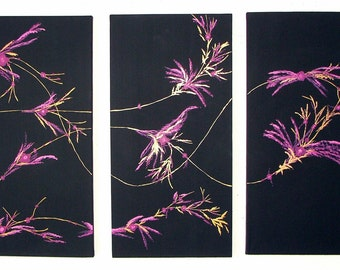 Canvas Original Painting Triptych Black Pink Purple Modern Design Home Decor Made To Order by Heather R. Lange