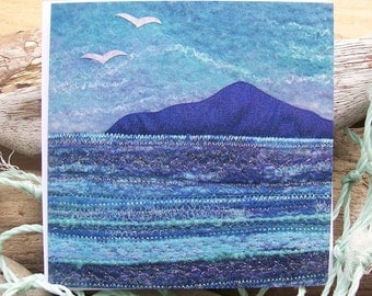 Island and Gulls Printed Greetings Card