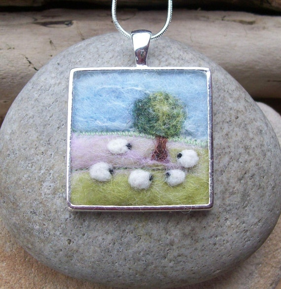 Felt Landscape Pendant with Sheep and Tree