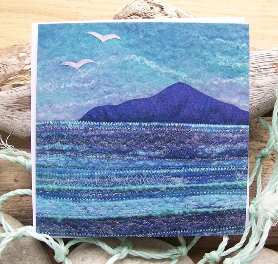 Island and Gulls Printed Greetings Card