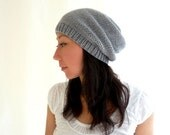 Camila Merino Slouch Hat. Men / Women. Soft Neutral Gray. Urban Style Knit. Fall / Winter / Snow / Ski Fashion. Handmade in France.