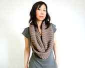 RESERVED - Pearly Ribbed Knit Infinity Scarf in Brown Alpaca