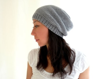 Camila Merino Slouch Hat. Knit. Men / Women. Soft Neutral Gray. Urban Style. Fall / Winter / Snow / Ski. Handmade in France.