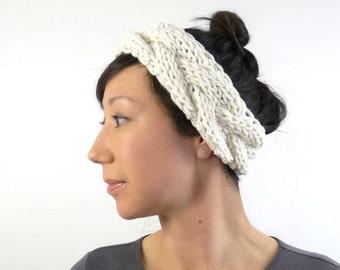 Ballerina Style Chunky Knit Headband / Ear Warmer in Soft Porcelain. Romantic Fall / Winter Fashion Handmade in France.