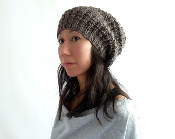 LouLou Knit Lace Slouch Hat. Woodland Brown. Wool Alpaca Mix. Soft. Rustic. Boho Style. Fall / Winter. Handmade in France.