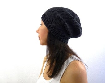 Merino Phrygian Slouch Hat / Beanie. Dark Charcoal / Coal Black. Urban Knit. Men / Women. Fall / Winter / Ski.