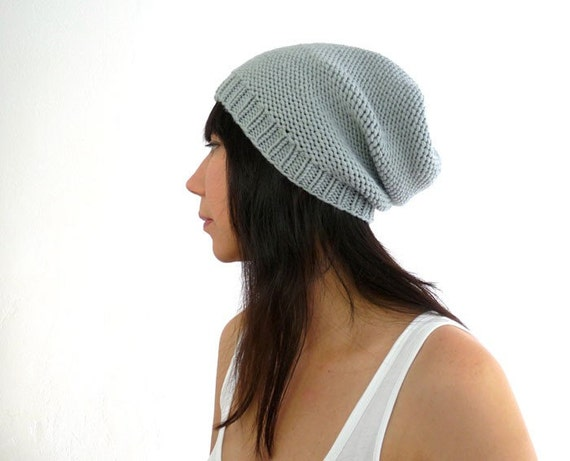 Merino Cashmere Phrygian Style Knit Slouch Hat. Soft Pearl Gray. Spring / Fall / Winter Fashion. Handmade in France.