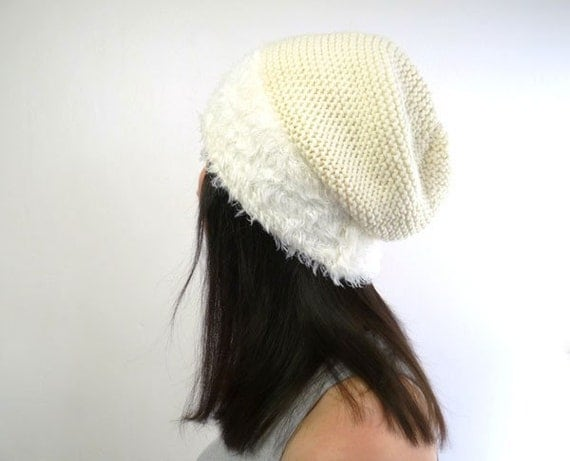 White Swan Faux Fur Knit Slouch Hat  - Free Shipping in France
