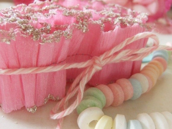 Candy Pink Crepe Paper and Glitter Ruffle Trim