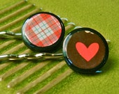 Red Heart and Red Plaid bobby pin set