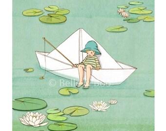 My Paper Boat, vintage childrens art, boys nursery