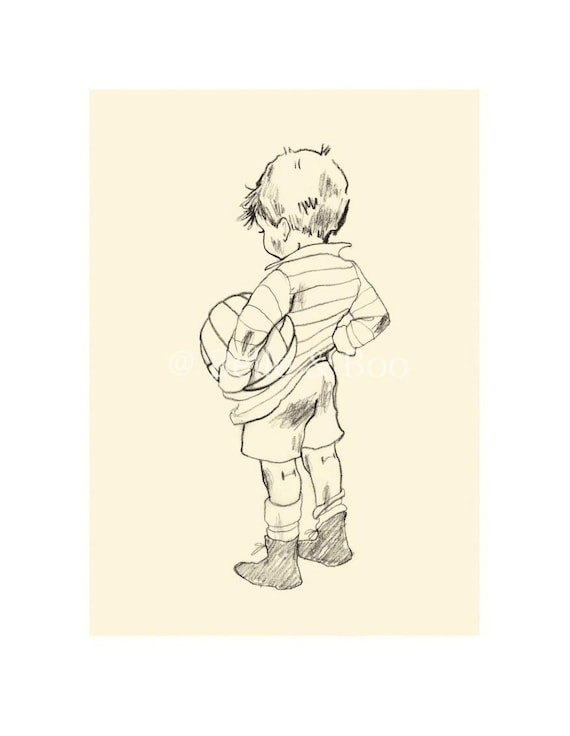 Muddy Morning, vintage boy art print, boys nursery, football, soccer