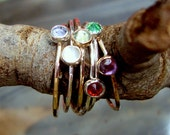 Ring 4 stack delicate build-your-own w birthstones - sterling silver/14k GF -Custom made in your Size