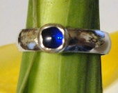 Sapphire Blue Ring - sterling silver from recycled eco-friendly  sources Lab grown stone - Custom Made in your Size
