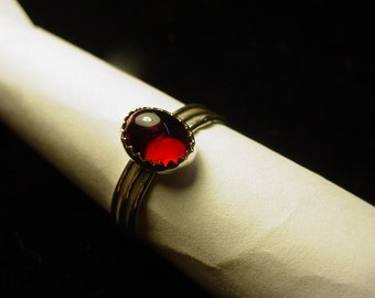 Blood Red Stacker - 3 skinny rings  - sterling silver - custom size  3, 4, 5, 6,6.5,6.25, 7, 8, 9, 10, 11, 12, 13, 14