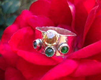 Created Emerald and Citrine Thumb Ring - wide sterling silver