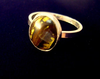 Ring - Oval 12x10mm Ironwood stone in sterling silver ring - custom made in your size - genuine petrified fossilized stone