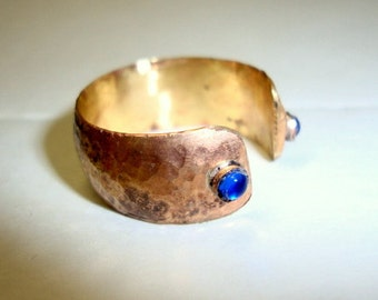 Open Sesame Ring in 14k yellow and rose gold w sapphires - blue as Arabian Nights
