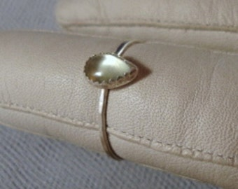 Pale cool green prehnite Ring -  recycled sterling silver - custom size