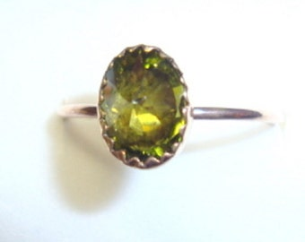 Olivine Green Sparkler ring -in reclaimed/recycled 14k/20 gold filled - custom made in your size