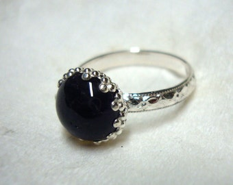 Black Onyx in fancy recycled sterling silver custom size handmade protection